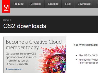 Adobe zpřístupnila softwarový balík CS2 ke stažení včetně sériových čísel