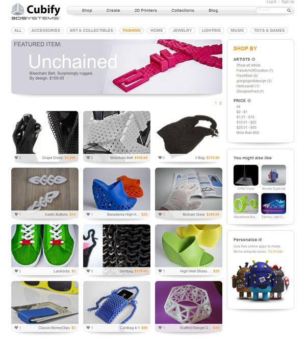 Vlastnit domácí 3D tiskárnu nedává velký smysl, pokud se její majitel nezapojí do komunity, přes kterou a pro kterou může prodávat své výrobky. Na webu Cubify.com si to dobře uvědomují.