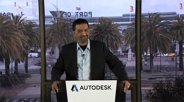 Amar Hanspal a nové logo firmy Autodesk.