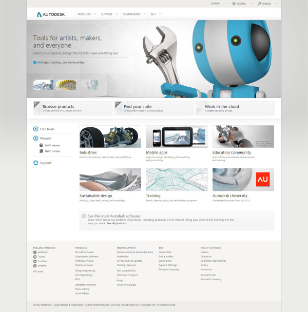 Ten, kdo připravil nový web Autodesku, rozhodně zaslouží pochvalu.