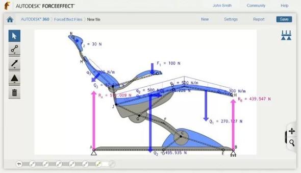 Desktopová verze aplikace Autodesk ForceEffect. Zdroj: Autodesk