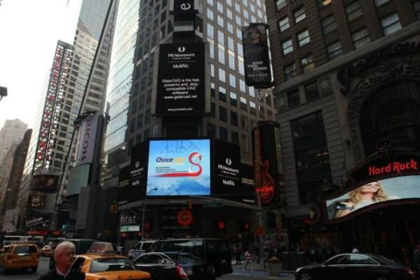 Světelná reklama firmy Gstarsoft na Times Square. Foto: GstarCAD.net