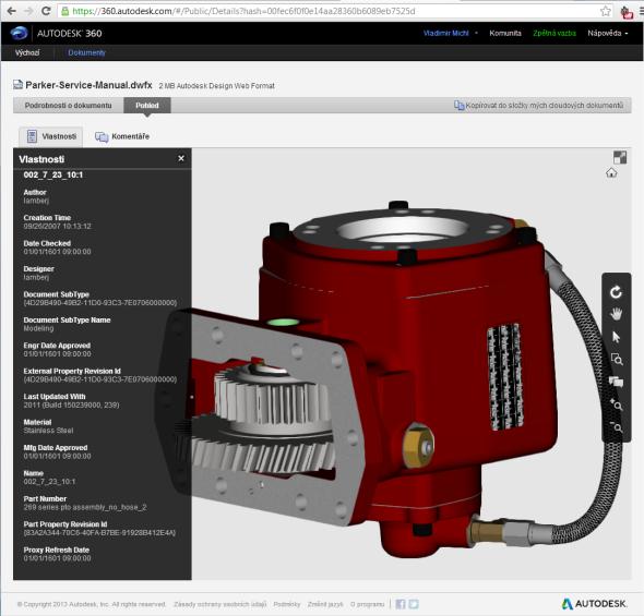 Zobrazení interaktivního 3D CAD modelu v internetové službě pro sdílení dat a on-line spolupráci Autodesk 360.
