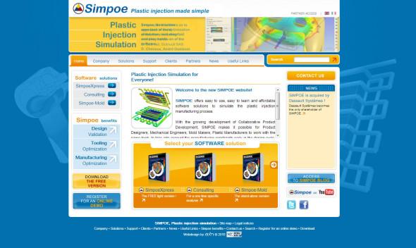 Web společnosti Simpoe ve své původní podobě před pohlcením strukturami Dassault Systèmes.
