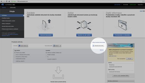 """Zobrazí se vám pracovní plocha Autodesk 360 s nabídkou několika nástrojů a nápovědy. Pro nahrání prvního souboru klepněte na tlačítko """"Odeslat dokument""""."""