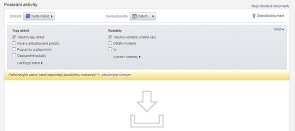 """Zvolené soubory se po chvilce nahrají na cloudové úložiště. Abyste je viděli on-line, musíte kliknout na odkaz """"Aktualizovat seznam"""" ve zvýrazněném poli v okně """"Poslední aktivity""""."""