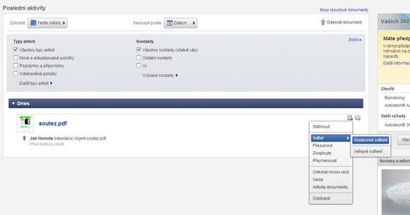 """Po aktualizaci zobrazení můžete soubor sdílet nebo komentovat (viz dvě ikony na konci řádku daného souboru). Jednoduše najeďte kurzorem myši nad ikonu a vyberte požadovanou možnost. Například, chcete-li sdílet soubor s vybraným kolegou, zvolte v nabídce """"Sdílet"""" - """"Soukromé sdílení""""."""