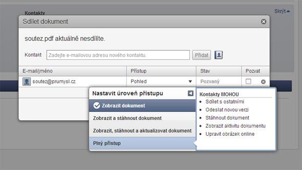 """Jakmile máte určeno, na kterou e-mailovou adresu má být soubor sdílen, můžete v okně """"Přístup"""" nastavit úroveň přístupu k datům pro daného uživatele. Klepněte na malou šipku u položky """"Pohled"""" a zvolte míru kompetencí."""