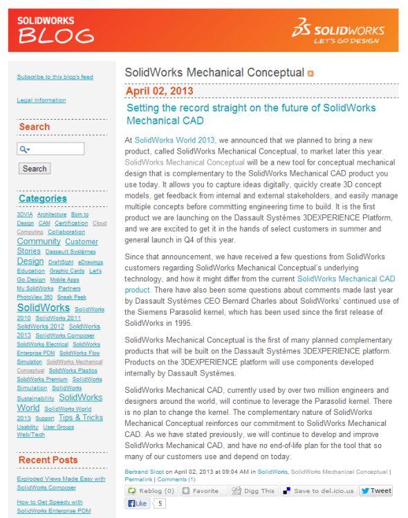 Vyjádření ředitele DS SolidWorks ke spekulacím o technologickým změnám v softwaru SolidWorks. Zdroj: blogs.solidworks.com