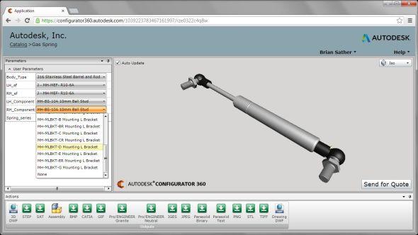 Cloudová aplikace Autodesk Configurator 360 pro tvorbu on-line konfigurátoru výrobků. Zdroj: inthefold.typepad.com