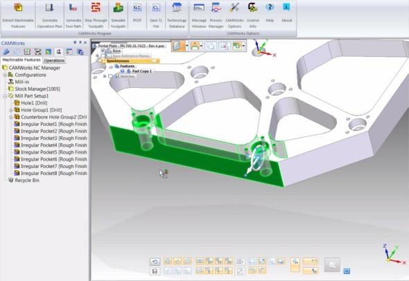 ST6 je první verzí Solid Edge s plně integrovaným CAM systémem. Uživatelům SolidWorksu může být CAMWorks důvěrně známý. Zdroj: CAMWorks