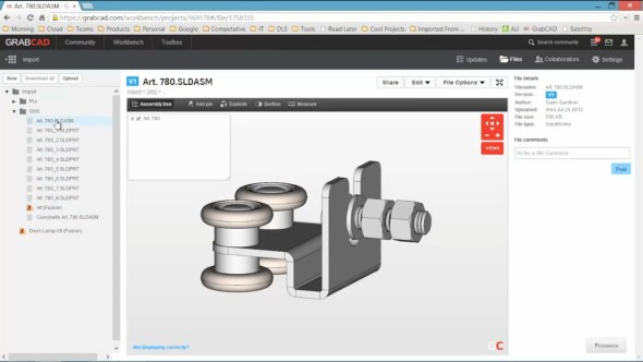 Pracovní on-line prostředí pro správu CAD dat GrabCAD Workbench s živým náhledem CAD geometrie v uloženém souboru. Foto: GrabCAD.com