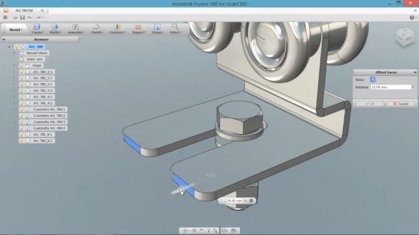 Soubor vytvořený v SolidWorksu je modifikován přímými úpravami v internetovém prohlížeči Google Chrome nástroji Autodesk Fusion 360, který byl spuštěn přímo z GrabCAD Toolbox. Foto: GrabCAD.com