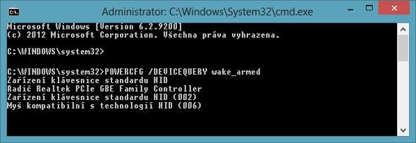 Výpis zařízení ovlivňujících hibernaci počítače.