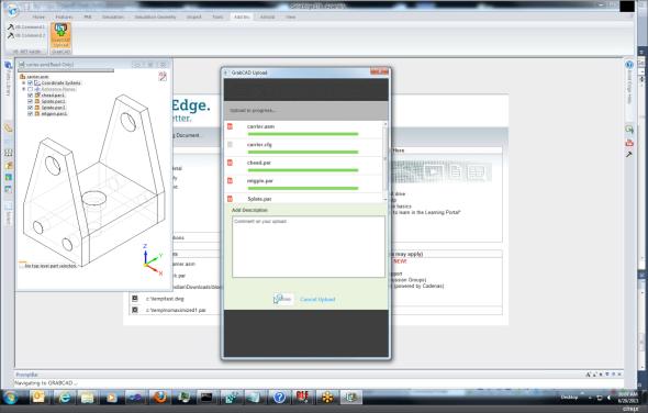 Data ze Solid Edge můžete odeslat do sociální sítě pro konstruktéry GrabCAD.com. Zdroj: GrabCAD