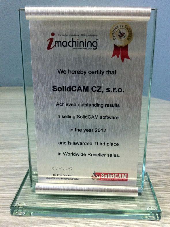 Ocenění za úspěšné obchody SolidCAM CZ v roce 2012. Zdroj: SolidVision