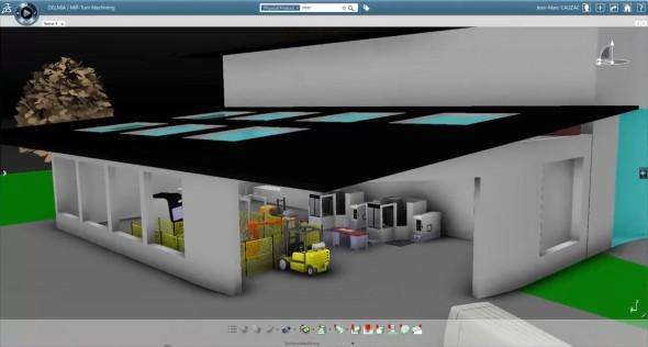 Také systém Delmia pro plánování tzv. digitální továrny, pronikl ve verzi V6R14 do cloudu. Zdroj: Dassault Systèmes
