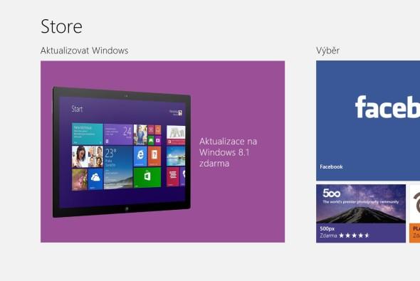 Upgrade na Windows 8.1 můžete nainstalovat z aplikace Store. Pokud v ní nevidíte to, co je na tomto obrázku, postupujte podle níže uvedeného návodu.