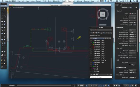Uživatelské rozhraní nového AutoCADu pro Mac OS vypadá na displejích Retina doslova hustě. Zdroj: Autodesk