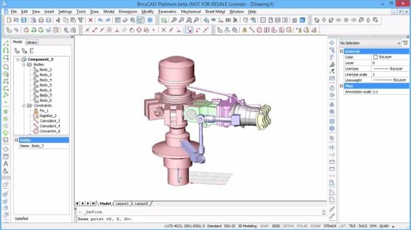 Skládání sestavy z dílů v různých CAD formátech v softwaru BricsCAD V14. Zdroj: Bricsys