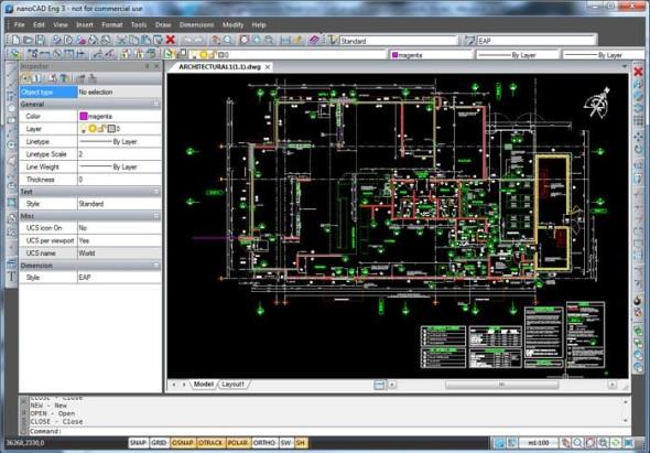 Uživatelské rozhraní NanoCADu připomíná starší verze AutoCADu. Zdroj: Nanosoft