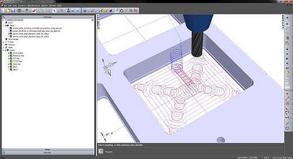 Hrubovací strategie Vortex v systému FeatureCAM 2014. Zdroj: Delcam