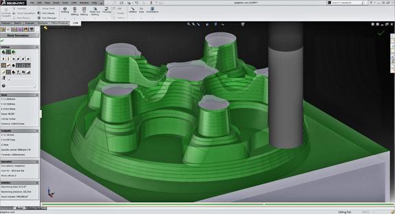 HSMWorks 2014 nabízí progresivní hrubovací technologii Adaptive Clearing 2.0. Zdroj: Autodesk