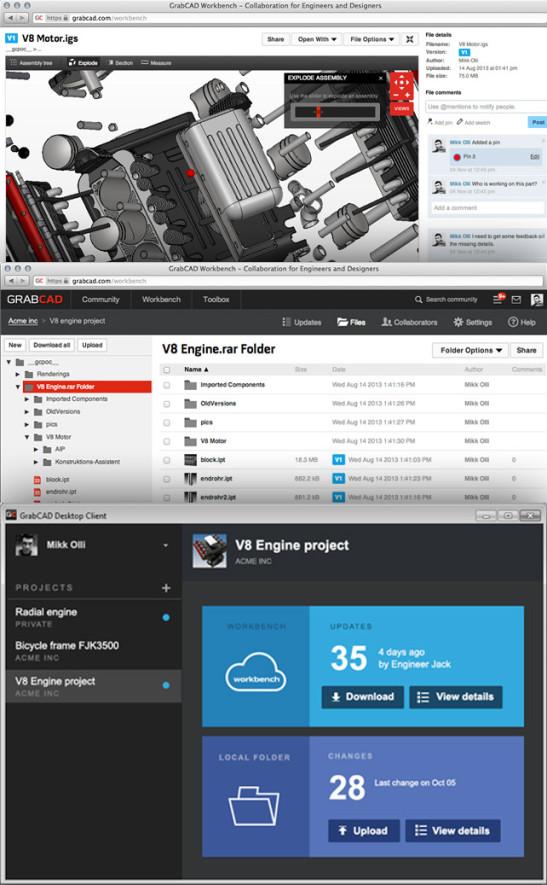 GrabCAD Workbench nabízí od listopadu praktické funkce pro správu CAD dat. Zdroj: GrabCAD.com