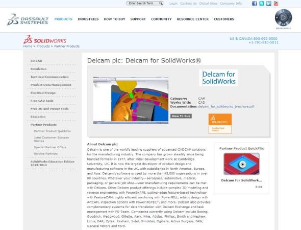 Zlatem certifikovaný Delcam for SolidWorks v přehledu preferovaných partnerských řešení pro software SolidWorks. HSMWorks už tam nenajdete. Zdroj: SolidWorks.com