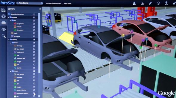 V systému InfoSite najdou pracovníci Fordu virtuální obraz každé montážní linky, kterou firma provozuje. Zdroj: Ford