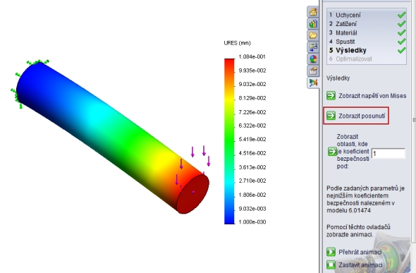 Postup pro SolidWorks: Rozložení napětí v tyči