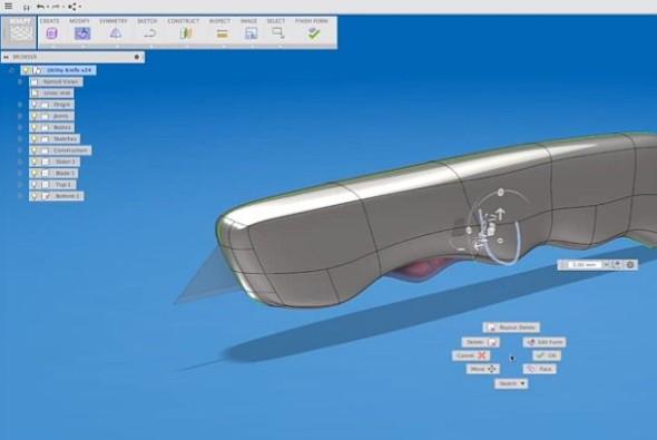 Provádění rychlých úprav geometrie v cloudovém systému Autodesk Fusion 360. Zdroj: Autodesk