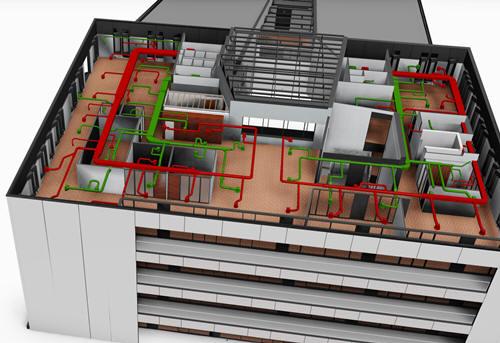 Ukázka projektových 3D dat zpracovaných v BIM softwaru Revit. Zdroj: MEPcontent.eu