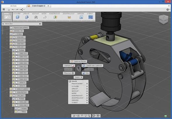 Prostředí softwaru Autodesk Fusion 360 je již přeloženo do češtiny. Zdroj: CAD Studio