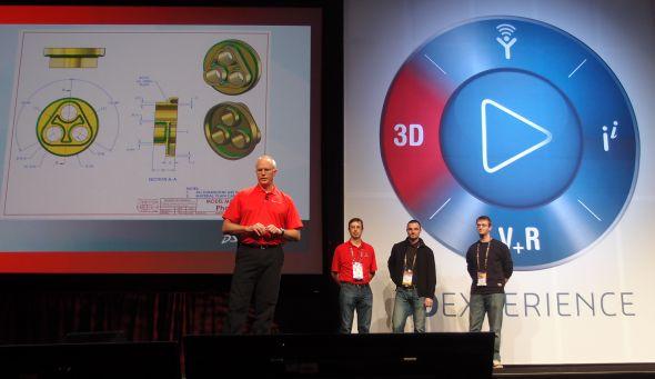 Rostislav Zavřel (druhý zprava) ze Schier-Technik Slovakia se na konferenci SolidWorks World 2014 probojoval na druhé místo v soutěži 3D modelování v SolidWorksu. Foto: Jan Homola