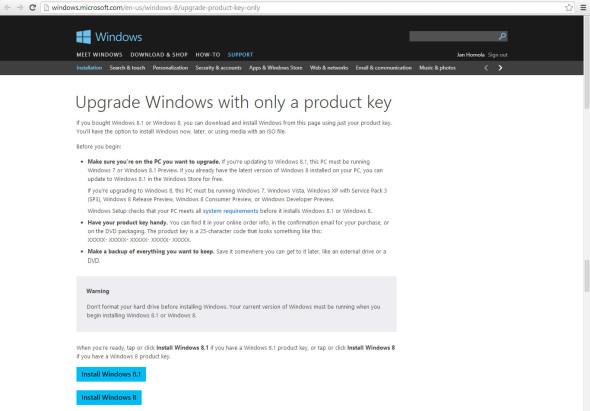 Přestože vám jde o instalátor pro Windows 8.1, musíte nejprve začít stahovat instalátor pro Windows 8.