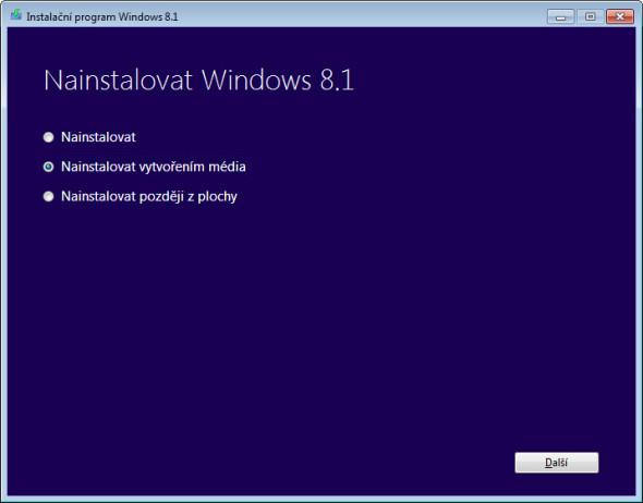 K instalačnímu DVD pro Windows 8.1 dospějete zvolením druhé možnosti tohoto seznamu.