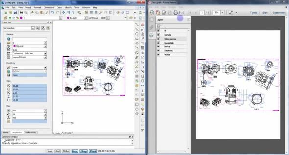 Jednou z příjemných funkcí systému DraftSight je možnost exportovat výkresy do formátu PDF se zachováním hladin a dalších vlastností. Zdroj: Gräbert