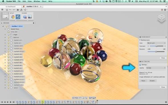 Ukázka renderování grafiky v rozhraní Fusion 360. Zdroj: Autodesk