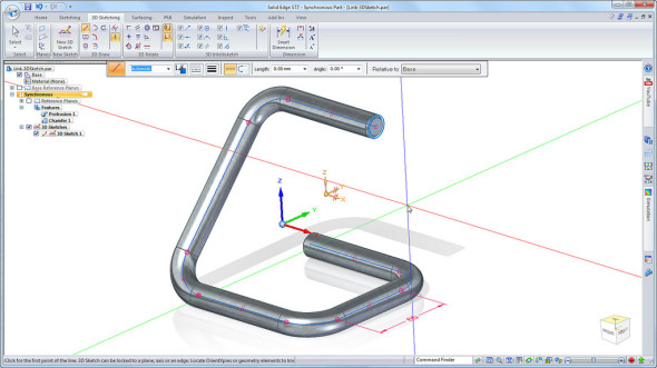Tvorba tzv. 3D skici v Solid Edge ST7. Zdroj: Siemens PLM Software