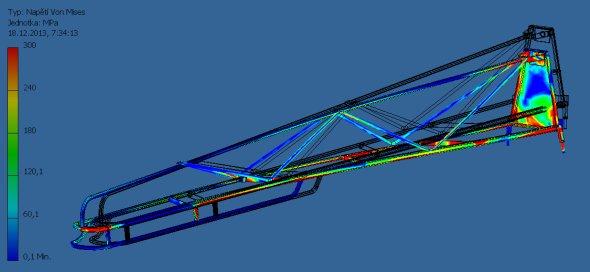 Ukázka průběhu napětí ve vnějším rameně postřikovače (simulace v prostředí Inventoru, síly dány dynamickou analýzou). (Zdroj: Agrio)
