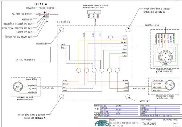 Elektrické schéma osvětlení postřikovače připravené v aplikaci AutoCAD Mechanical. (Zdroj: Agrio)