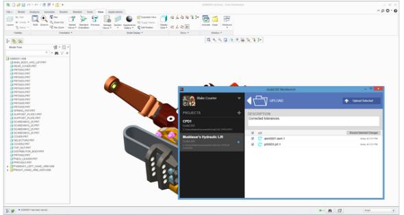 GrabCAD Workbench dokáže otevřít výkresovou dokumentaci zpracovanou v aplikaci Creo. Zdroj: GrabCAD.com