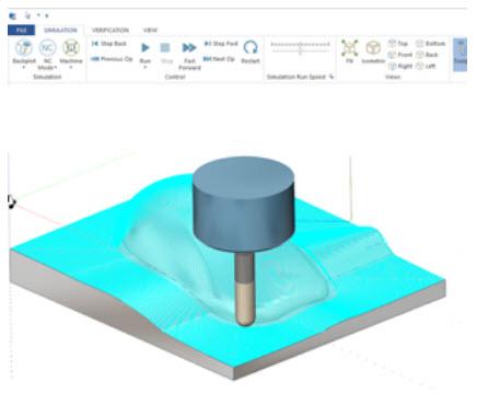 Simulace stroje obsahuje nové rozhraní s pásem karet podobající se prostředí v aplikacích Microsoft Office. Foto: moduleworks.com