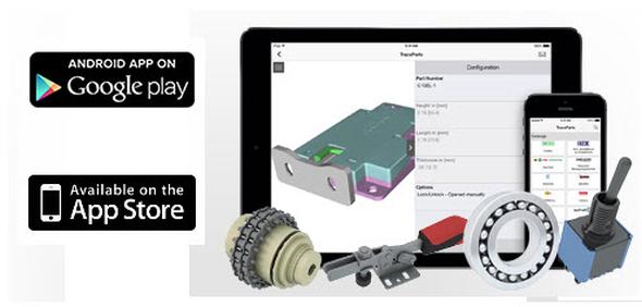 Bezplatná aplikace TraceParts pro dotyková zařízení je k dispozici v prodejnách Apple Store a Google Play Store.