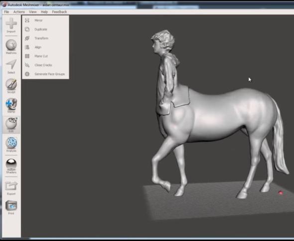 Převedený model slouží například pro tištění modelu na 3D tiskárně nebo pro další úpravy. Foto: Autodesk 123D Catch