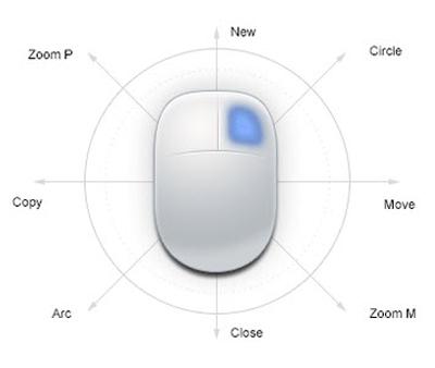 Novinkou ve verzi 2015 jsou gesta myši. Kliknutím pravým tlačítkem a tažením určeným směrem vyberete požadovanou funkci. Foto: zwsoft.com
