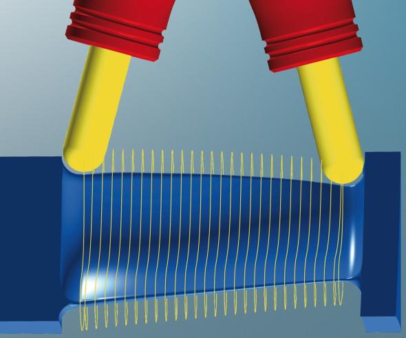 Modul pětiosého obrábění oběžných lopatkových kol nyní obsahuje i rozšířené nastavení pro obrábění lopatek turbín. Foto: Open Mind