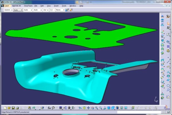 Catia představuje funkci pro rozvin obecných 3D ploch