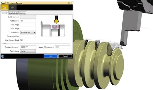 Edgecam 2015 R1 obsahuje novou strategii Waveform Edgecam pro hrubování soustružením nástrojem s kruhovou destičkou. Foto: Vero Software
